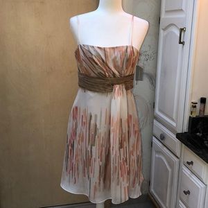 Peach and white chiffon party dress